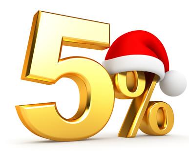 5% en or avec chapeau de père Noël