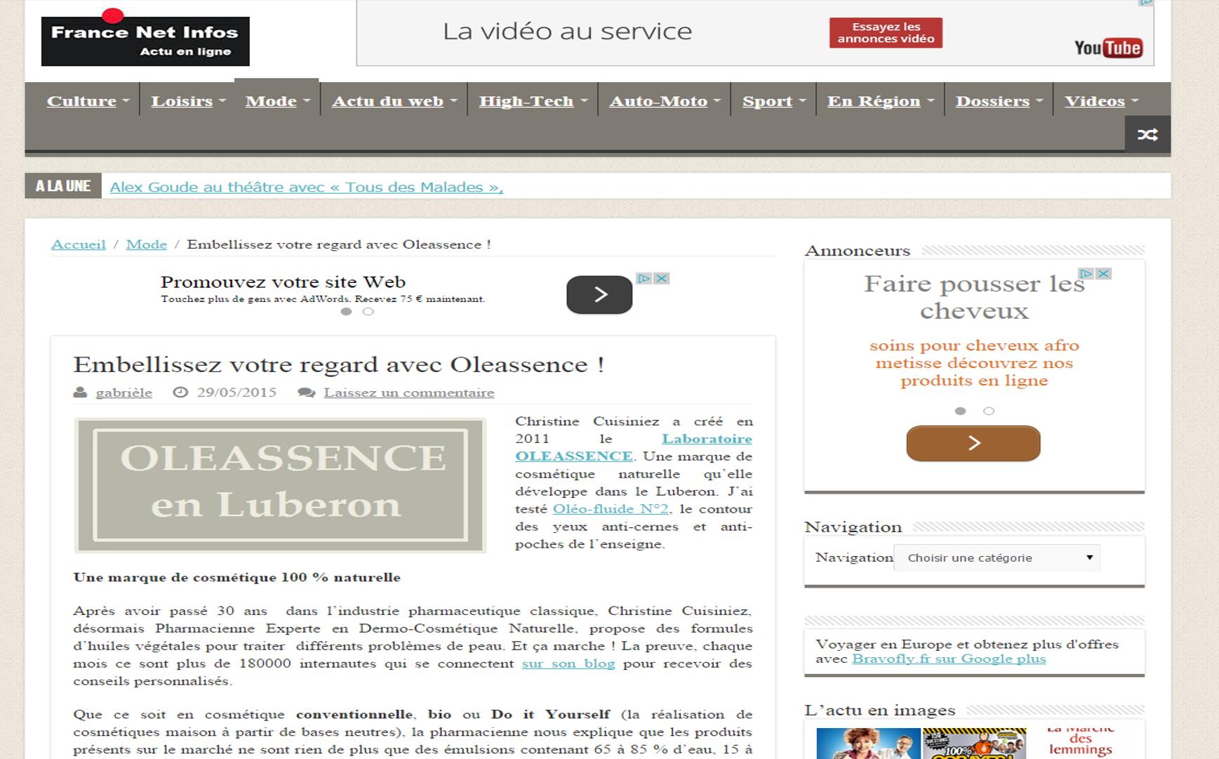 Article France Net Info Gabriele